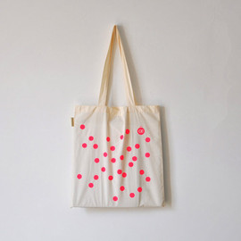 oelwein - Dot dot dot neon pink / Polka dot / Organic cotton tote bag / Screen printed