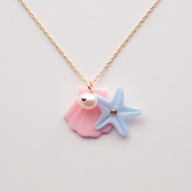 a cloudy dream - SEASIDE NECKLACE PEACH/BLUE