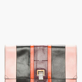 PROENZA SCHOULER - Pink Striped Leather Lunch Bag Clutch