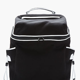 ALEXANDER WANG - Black & White Leather-trimmed Neoprene Wallie Backpack