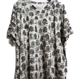 White Mountaineering - FOREST PATTERN JERSEY WIDE SILOUHETTE T-SHIRT(GRAY)