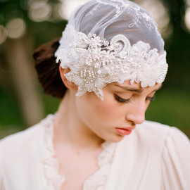 Twigs&Honey - Beaded lace bridal cap - Style # 220