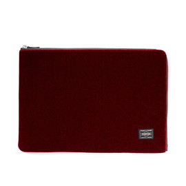 "HEAD PORTER - ""VELOURS"" DOCUMENT CASE RED"