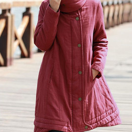 etsy - Linen double stand-up collar asymmetric winter padded coat