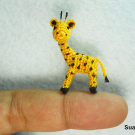 SuAmi - Cute Tiny Giraffe - Micro Crochet Miniature Animals - Standing Yellow Girrafe - Made To Order