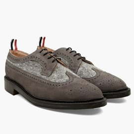 Thom Browne - Men's Suede and Boiled Wool Long Wing Brogues
