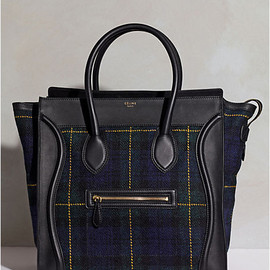 CELINE - Luggage Medium in Tartan Tweed & Calfskin Midnight