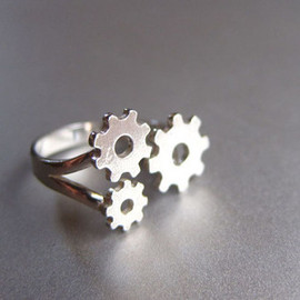 SmilingSilverSmith - Gears Ring  - Handmade Silver Ring