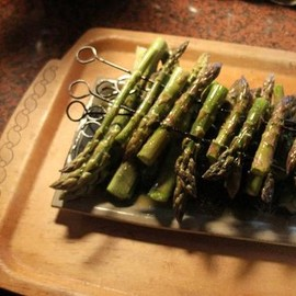 vegetable Goan - Some of the biggest home grown asparagus I have ever seen. Grilled with olive oil and salt & pepper. Delicious!