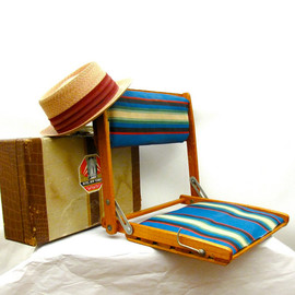 vintage folding oak and striped canvas portable chair