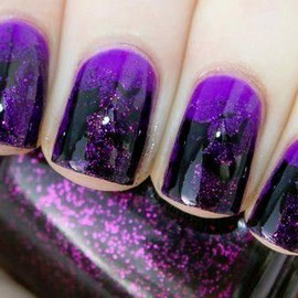 Purple and black glitter nails