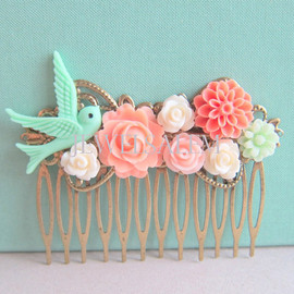 Jewelsalem - Coral Mint Green Wedding Hair Comb