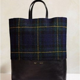 CELINE - CABAS BI-COLOR IN TARTAN TWEED AND LAMBSKIN MIDNIGHT