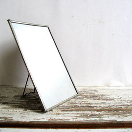 silver framed vintage Shaving Mirror with Stand