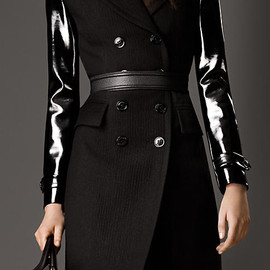 BURBERRY LONDON - PATENT SLEEVE WOOL MOHAIR MILITARY COAT