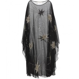 SAINT LAURENT - Embellished silk chiffon poncho