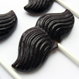 VintageConfections - Mustache on a stick hard candy lollipops - 6 pc. - MADE TO ORDER