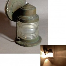 "アメリカンアンティーク - 1940-50's ""Ribbed Glass"" Brass Porch Lamp"