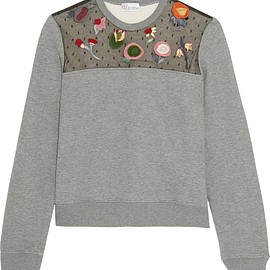 REDValentino - Embroidered point d'esprit-paneled jersey sweatshirt