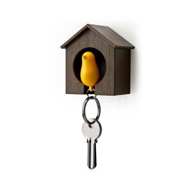 Qualy - Sparrow Key Ring (Brown/Yellow)