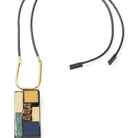 MARNi - Resort2015 Leather Covered Necklace With Stone Pendant