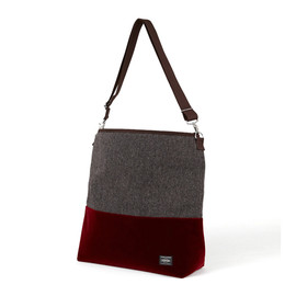 "HEAD PORTER - ""VELOURS"" 2WAY SHOULDER BAG RED"