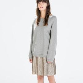 ZARA - MIXED FABRIC SWEATSHIRT WITH BACK ZIP