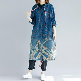 jacket for women - Loose Windbreaker, blue jacket for women, Cotton hooded printed jacket