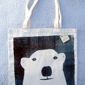 brightbeige - Cool Bear Screenprinted Tote Bag