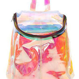 Chic Colorized Transparent Zippered Bucket Bag Backpack Handbag