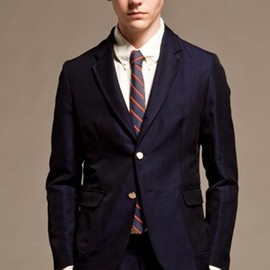 Band of Outsiders - 2button Navy Blazer in Linen