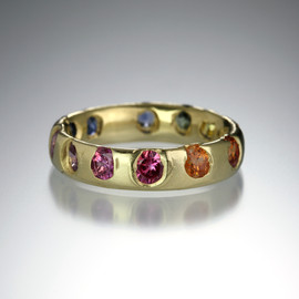 Eroded Multi Color Sapphire Narrow Ring