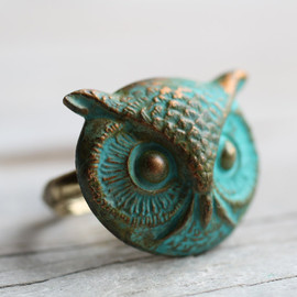 SilkPurseSowsEar - Owl Ring .. Verdigris Bird with Antique Gold