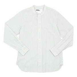 MHL. - MHL. GRAPHIC COTTON STRIPE NO COLLAR SHIRTS 011WHITE 〔メンズ〕