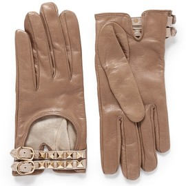 VALENTINO - 'ROCKSTUD' DOUBLE STRAP SHORT LEATHER GLOVES