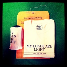 MY LOADS ARE LIGHT - limited gift set. sox & t-shirts. edition of 40.  sox color/DARK GREEN t-shirts color / TURQUOISE GREEN. AMERICAN ORANGE. BLACK. size / M.L. plice \6000