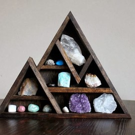 Mountain Wood Shelf with Crystal and Mineral Collection
