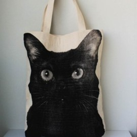cat - black cat cotton bag