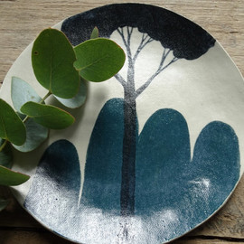 Jade green mountain stoneware side plate