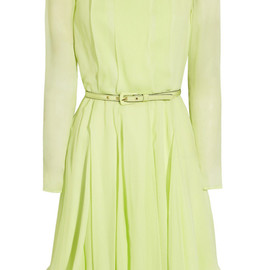 OSCAR DE LA RENTA - Pleated silk-chiffon dress