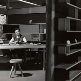 """Charlotte Perriand - """"Nuage"""" Shelf & Wooden Table, Expo Synthèse des Arts Tokyo, 1955"""