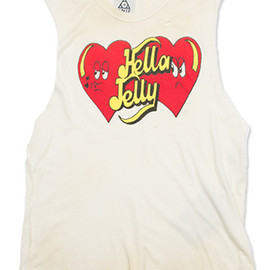 "UNIF - 【UNIF】ノースリーブグラフィックプリントTシャツ""HELLA JELLY""/DIRTY WHITE"