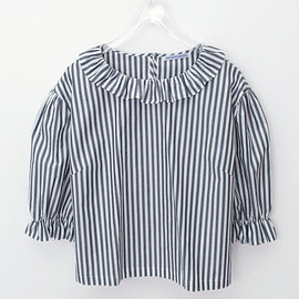 Wanderclad etc.. - RUFFLE NECK TOP(WH×NV)