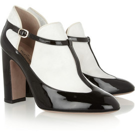 VALENTINO - Patent-leather and velvet T-bar pumps