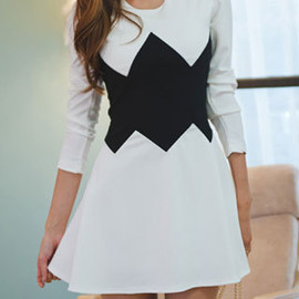 Fashion Splicing Slim Contrast Color Sexy Nightclub Sweet Pullover Dress