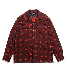 ENGINEERED GARMENTS - Classic Shirt-Game Animal Jacquard-Black×Red