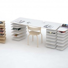 Mathieu Lehanneur - strates system minimalist office desk with shelving