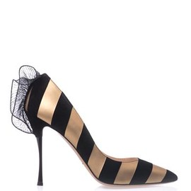 NICHOLAS KIRKWOOD - Leather and suede stripe point-toe pumps