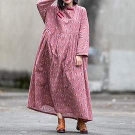 pink Loose Fitting dress - Cotton gray, pink Loose Fitting dress for women, Vintage Print Dress, Maternity Clothing