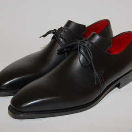 "Pierre Corthay - ""Arca"" Black shoes, with Red Lining"